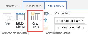 El botón Crear vista de la biblioteca de SharePoint en la cinta.