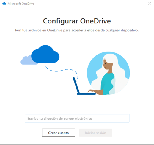 Captura de pantalla de la primera pantalla del programa de instalación de OneDrive