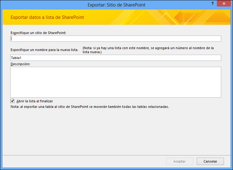 Especifique un sitio de SharePoint para exportar la tabla o consulta de Access.