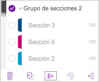 Cambiar el nombre de un grupo de secciones en OneNote para iOS