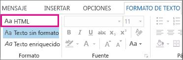 Opción de formato HTML de la pestaña Formato de texto de un mensaje
