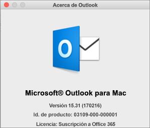 Si ha obtenido Outlook mediante Office 365, en Acerca de Outlook se indica que es una suscripción de Office 365.