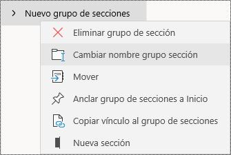 Cambiar el nombre de los grupos de secciones en la aplicación de OneNote para Windows 10