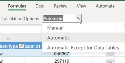 Menú Modo de cálculo en Excel para la web