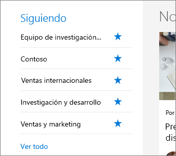Sitios que sigo de SharePoint Office 365