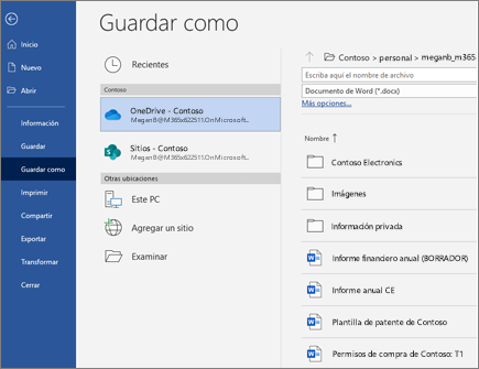 Guardar archivo de Word en la nube