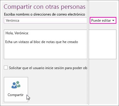 Captura de pantalla de la opción Interfaz de usuario para compartir en OneNote 2016.