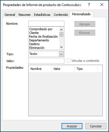 Usar la pestaña Propiedades personalizadas para agregar o modificar propiedades del documento personalizadas