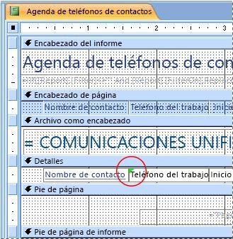 Informe que contiene un cuadro de texto con un identificador mal escrito