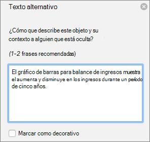 Cuadro de diálogo de texto de Excel 365 escribir alternativo para gráficos dinámicos