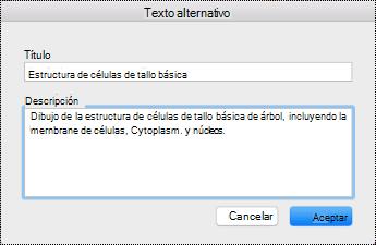 Cuadro de diálogo texto alternativo para OneNote en Mac.