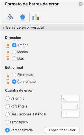 Muestra el panel formato de barras de Error con personalizado seleccionado para la cuantía de Error
