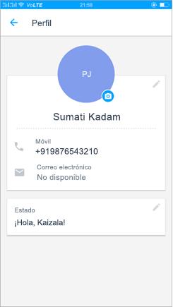 Captura de pantalla del perfil para actualizar la configuración del estado