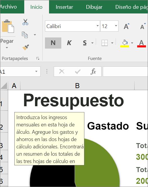 Recorte de pantalla de la interfaz de usuario de Excel que muestra la instrucción integrada