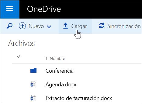 Captura de pantalla del botón Cargar en OneDrive para la Empresa en Office 365