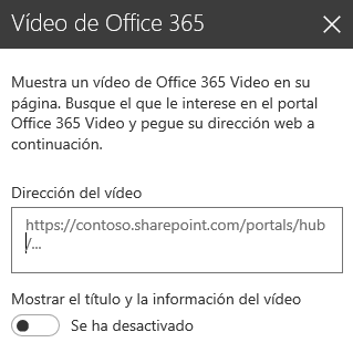 Captura de pantalla del cuadro de diálogo dirección de Office 365 Video en SharePoint.