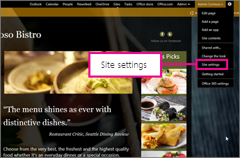 En el generador de sitios web de GoDaddy, seleccione Configuración del sitio