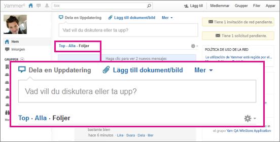 Captura de pantalla del sitio web de Yammer con un cuadro rosa que resalta la vistas, Principales, Todos y Siguiendo.