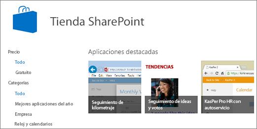 Vista de selección de la aplicación de almacenamiento de SharePoint
