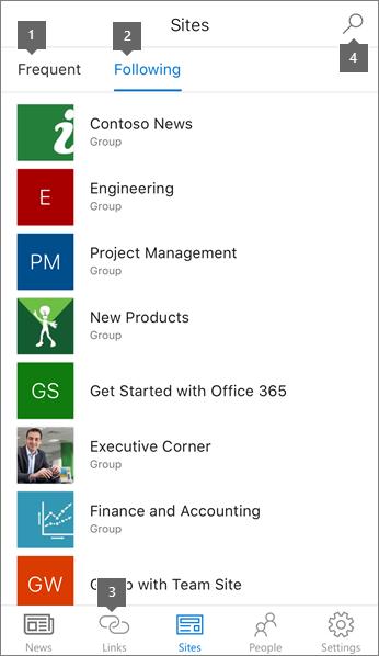 Ficha sitios de la aplicación móvil de SharePoint para iOS
