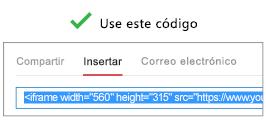 """Para que funcione correctamente, el código que se usa para insertar el vídeo debe comenzar con """"iFrame"""" u """"<object""""."""