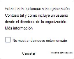 Captura de pantalla que muestra una notificación de que la conversación es una conversación de la organización