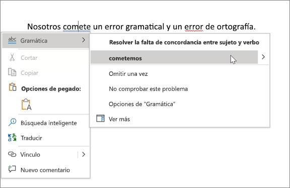 Ejemplo de ortografía y gramática de Office 365