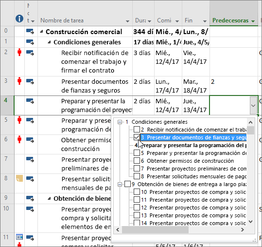 Captura de pantalla del menú de lista desplegable de la columna Predecesoras en Project