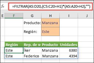 """Uso de FILTRAR con el operador de multiplicación (*) para devolver todos los valores en el rango de la matriz (A5:D20) que tengan """"Apple"""" (manzana) y estén en la región """"East"""" (este)."""