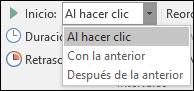 Opciones de inicio para animaciones en PowerPoint