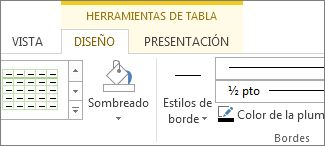 Ubicar las herramientas de tabla
