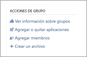 Vínculo de información del grupo Vista