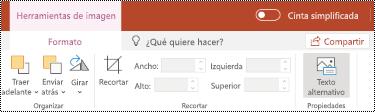 Botón texto alternativo en la cinta de opciones de una imagen en PowerPoint online.