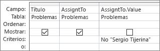 Cuadrícula de diseño de la consulta con un campo de búsqueda recta
