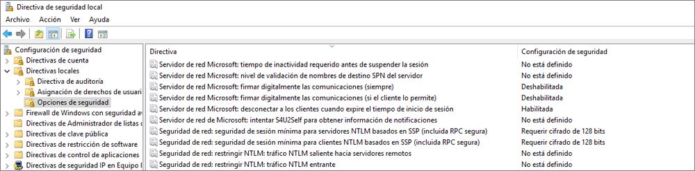Ventana Directiva de seguridad local, con opciones de seguridad que muestran la configuración de OneDrive corregida