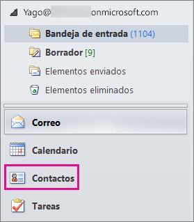 """Para ver los contactos, elija """"Contactos"""" en la parte inferior del menú de navegación de Outlook."""