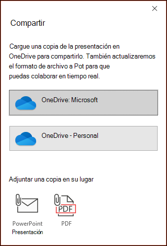 El cuadro de diálogo compartir en la oferta de PowerPoint para cargar el archivo en la nube de Microsoft para poder compartirlo sin problemas.