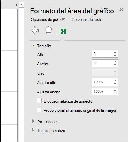 Puede ajustar el tamaño del gráfico en el cuadro de diálogo Formato del área del gráfico