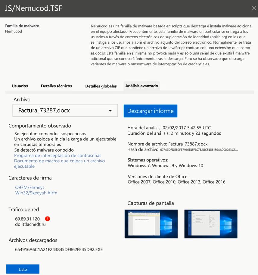Captura de pantalla de advaned análisis de datos adjuntos del archivo específicas