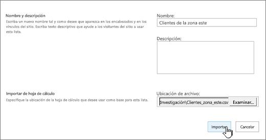 Diálogo Nueva aplicación con el nombre y la ubicación de archivo rellenados y con la opción Importar resaltada