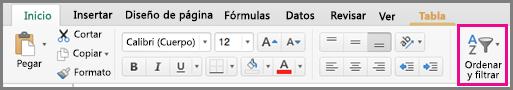 Comando Filtro de ordenación en Excel para Mac