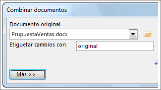 Cuadro de documento original