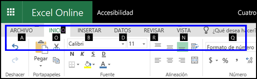 Cinta de Excel para la web que muestra la pestaña Inicio y KeyTips en todas las pestañas