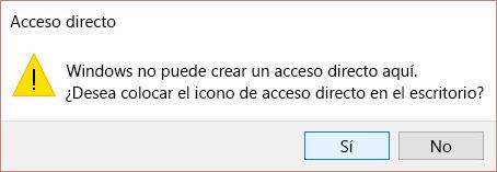 Alerta de acceso directo en Win 10