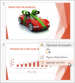 Clic entre dos diapositivas para insertar una sección