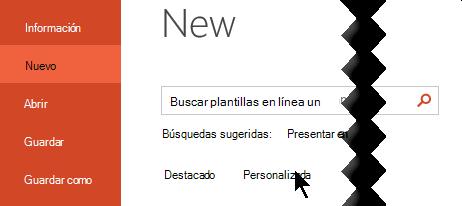 En archivo > nuevo, seleccione la opción personalizado para ver las plantillas personales