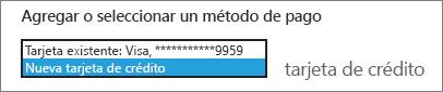 """Captura de pantalla del menú desplegable con """"Tarjeta de crédito nueva"""" seleccionado"""