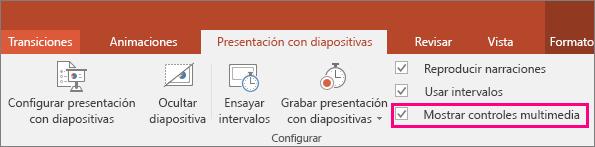Muestra la opción Mostrar controles multimedia en PowerPoint