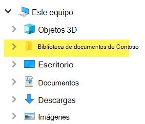 En el explorador de archivos, la biblioteca asignada aparece como entrada de carpeta en este equipo.