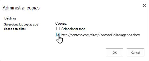 Seleccione las copias de destino que desea actualizar